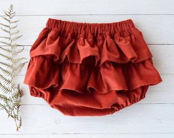 Rust corduroy bloomers, Ruffle diaper cover