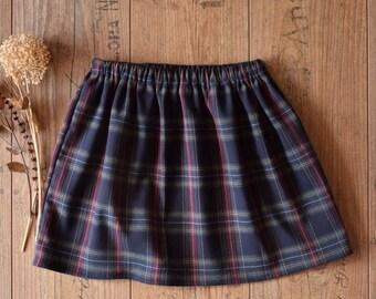 Full plaid skirt girl, Blue tartan skirt toddler