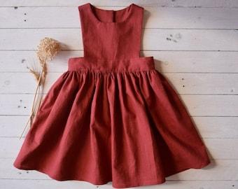 Rust brown linen pinafore dress girl