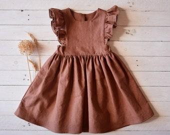 Linen ruffle pinafore dress girl