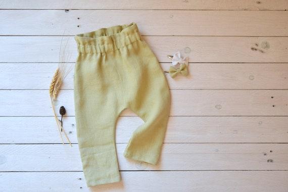 86854bdaef756 Linen baby pants, Harem pants baby, Linen kids clothes