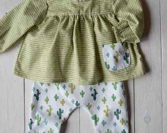 Complete with baby green shirt and panties, cactus cloth, children's clothing, kids clothes, girl dresses, birthday gift