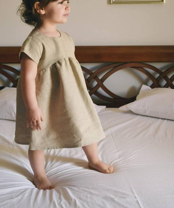 58f00167532 Girl linen dress Beige linen dress girl Linen baby clothes