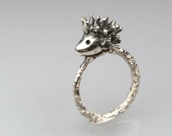 Hedgehog Ring, Sterling Silver Porcupine Ring, Animal Ring, Spiky Ring, silver hedgehog, hedgehog jewellery