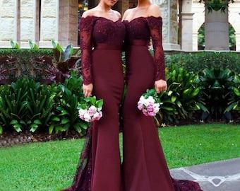 1995276761 Bridesmaid dress burgundy