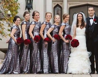 a685139eaa Silver Sequin Bridesmaid Dress Floor Length Bateau Low Back