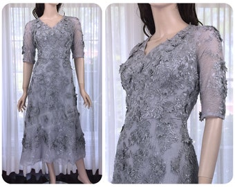 Silver wedding dress etsy silver wedding dress grey lace appliques dress mother of bride junglespirit Image collections
