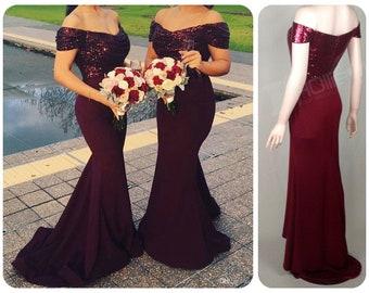 Bridesmaid Dress Burgundy Etsy