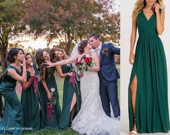 07e970aaf07 Hunter Green Bridesmaid Dress