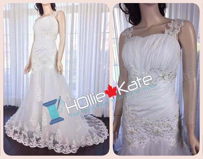 e1f5def0af8 Lace Straps Wedding Dress Pure White Lace Appliques Wedding