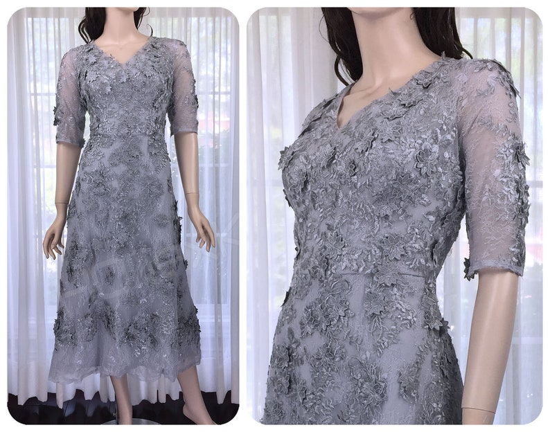Silver wedding dress grey lace appliques dress mother of etsy