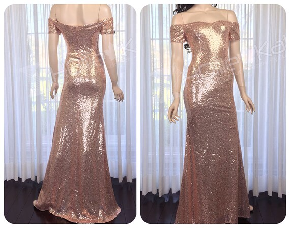 98813cee3b59 Rose Gold Sequin Bridesmaid Dress Off Shoulder Bridesmaid