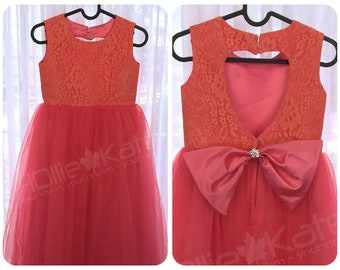Coral bridesmaid dress / lace junior bridesmaid dress / Christmas dress baby girl / Christmas dress for toddler