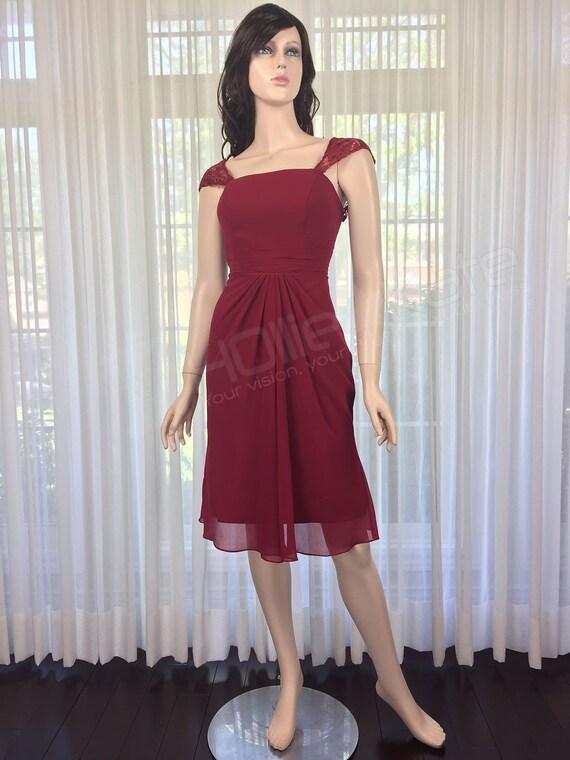 Wine Lace Bridesmaid Dress Red Prom Dress Burgundy Evening Dress Lace Straps Dress
