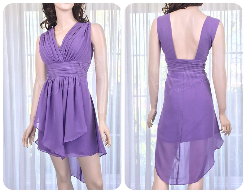 d9f411f81dd Purple Mullet Bridesmaid Dress Regency V Neck Dress Purple
