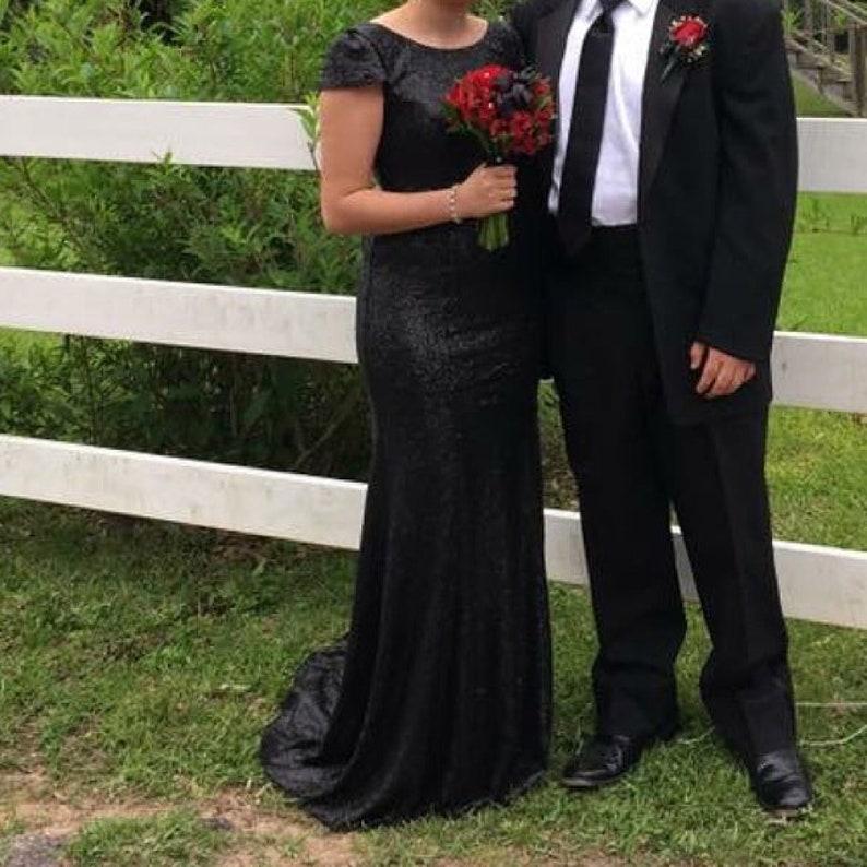 Black sequin bridesmaid dress Matte sequin