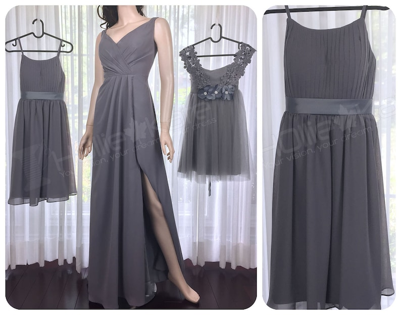 09d0628e341 Dark Grey Junior Bridesmaid Dress Gray Bridesmaid Dress Dark