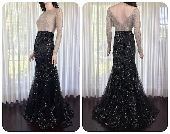 Silver Wedding Dress Mermaid Sheer Top Wedding Dress with | Etsy