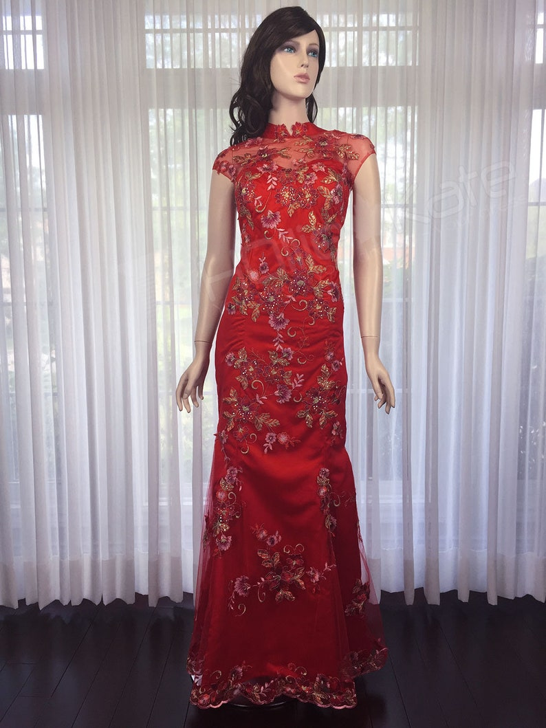 Red Cheongsam Dress Chinese Wedding Dress Red Qipao Dress Etsy