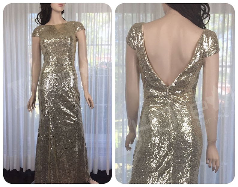 f145402d35c Champagne Sequin Bridesmaid Dress Sequin Wedding Dress