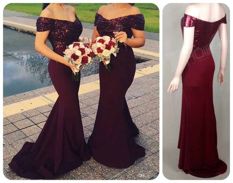 17312c4a6b Bridesmaid Dress Burgundy Maroon Sequin Bridesmaid Dress Long