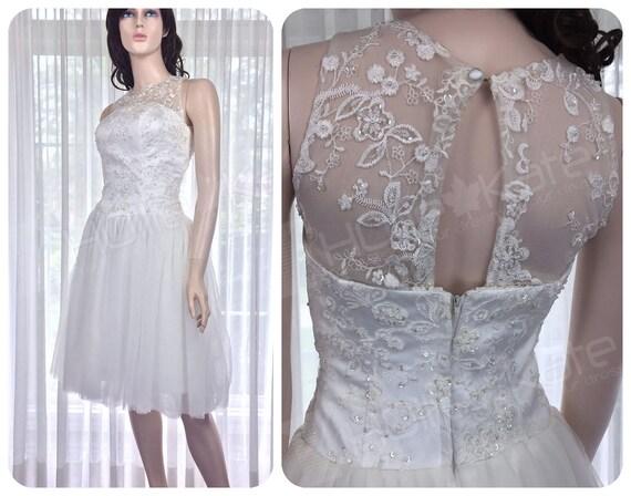 Short Lace Wedding Dress Short Lace Dress Bridal Shower Dress Rehearsal Dinner Dress White