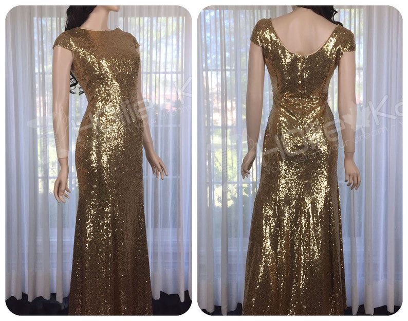 1350b2ce Gold Sequin Bridesmaid Dress Antique Gold Sequin Dress Long | Etsy