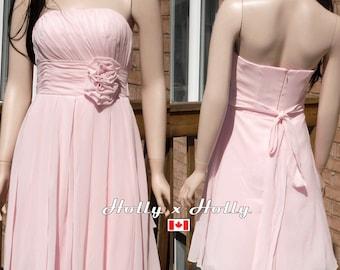Short Blush Pink Bridesmaid Dress, Pale pink short Bridesmaid Dress