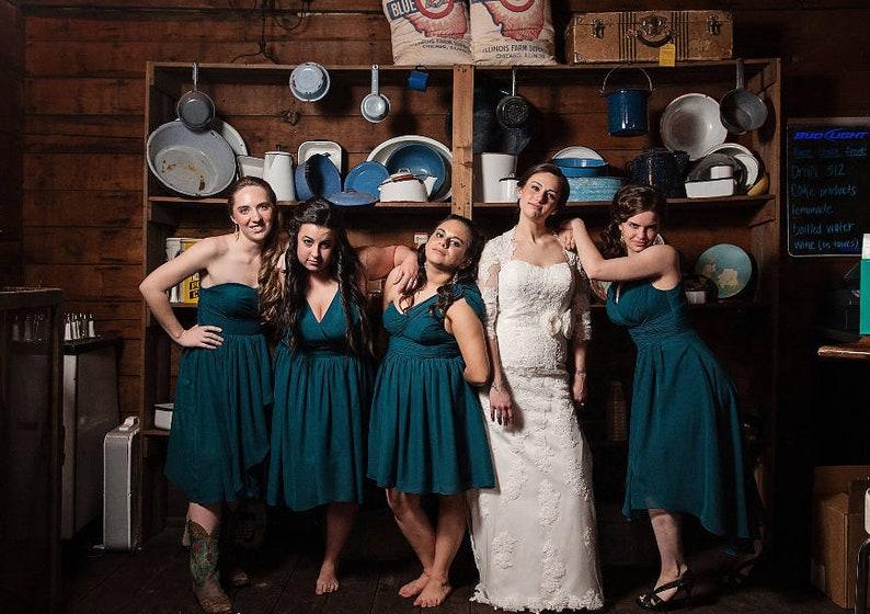 eddec4a101b1 Teal Bridesmaid Dress Mismatch Bridesmaid Dresses Short | Etsy