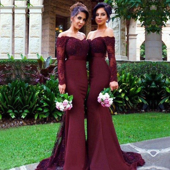 Burgundy Bridesmaid Dress Burgundy Lace Long Sleeves Bridesmaid Dress Beaded Off Shoulder Bridesmaid Dress