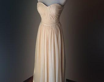 Champagne bridesmaid dress, Prom dress - sweetheart strapless chiffon dress