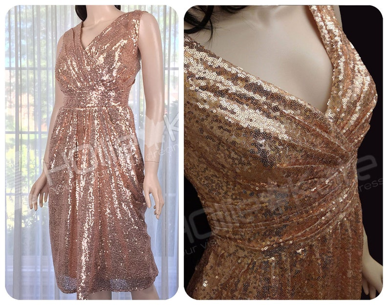 6ecab247f707 Oro rosa paillettes Abiti da Damigella vestito da Promenade