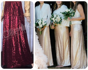 Burgundy sequin skirt, burgundy bridesmaid dress, bridesmaid skirt, Red sequin prom dress, Sequin maxi skirt, 2 piece bridesmaid dress
