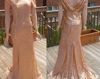 Cowl back dress, rose gold sequin bridesmaid dress, rose gold sequin dress