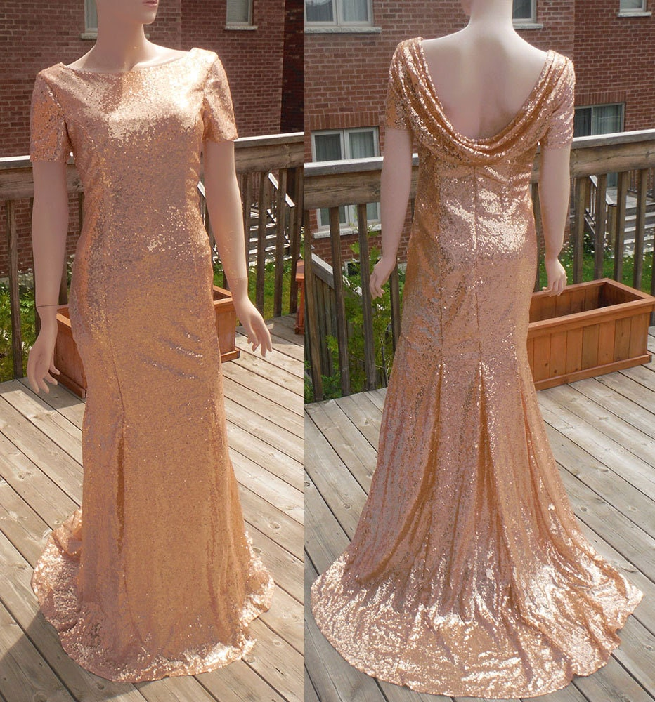 Cowl Back Bridesmaid Dress: Cowl Back Dress Rose Gold Sequin Bridesmaid Dress Rose