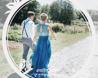 Blue wedding dress with lace, chiffon wedding dress, beach wedding dress