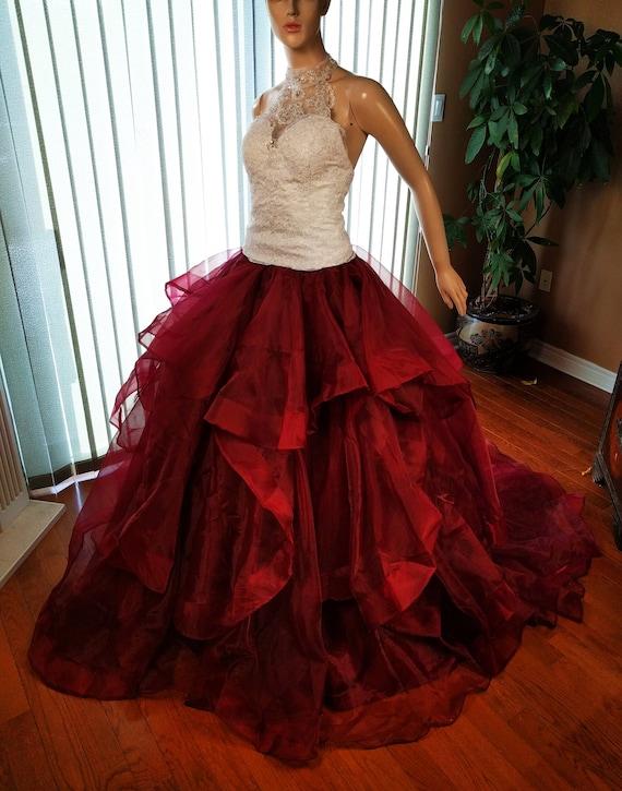 Burgundy wedding skirt Wine red wedding skirt maroon wedding | Etsy
