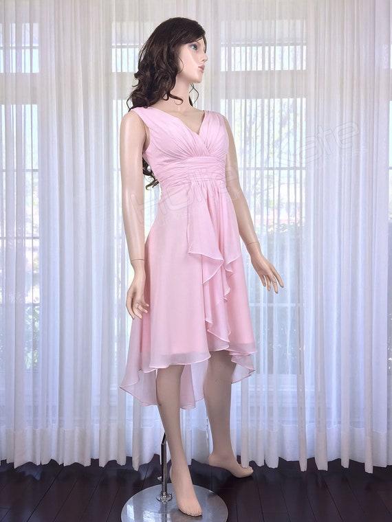 1c864d1ec4 Blush Pink Mullet Bridesmaid Dress Light Pink V Neck Dress