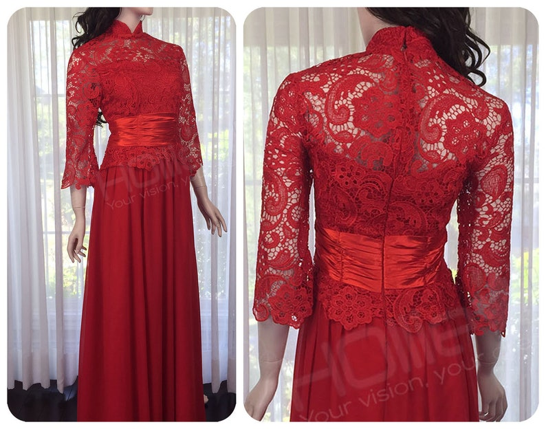 93b049b53 Red wedding dress red cheongsam dress red lace dress red   Etsy