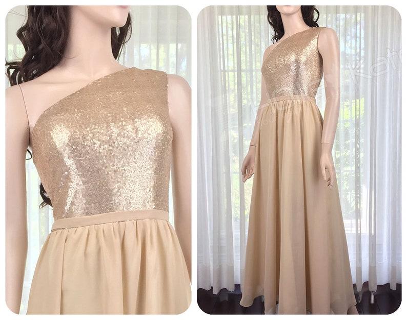 Champagne Junior Bridesmaid Dress Sequin, Single Shoulder Sequin Gown, Tan  Bridesmaid Dress Long Sequin Dress Women Plus Size