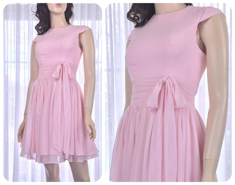 c368cfd347 Modest bridesmaid dress in blush pink 1950s knee length