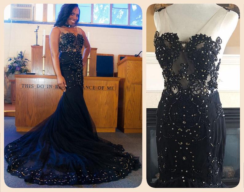 3c935008 Black lace wedding dress black mermaid lace wedding gown | Etsy