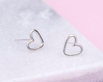 Sterling Silver Heart Stud Earrings, Heart Studs, Simple Studs, Tiny Heart Studs, Open Heart Stud Earrings, Stud Earrings, Gift for Her