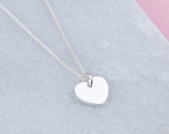 Personalised Sterling Silver Heart Necklace, Simple Necklace, Necklaces for Women, Necklace