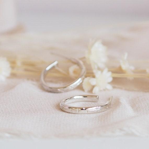 Silver Star Engraved Hoop Earrings, Silver Hoop Earrings, Medium Hoop Earrings, Sterling Silver Star Earrings, Star Engraved Hoops, Hoops