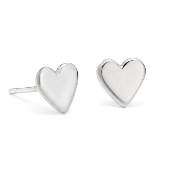love heart jewelry heart jewellery gifts for her handmade valentines earrings Silver Wire Heart Stud Earrings romatic jewelry