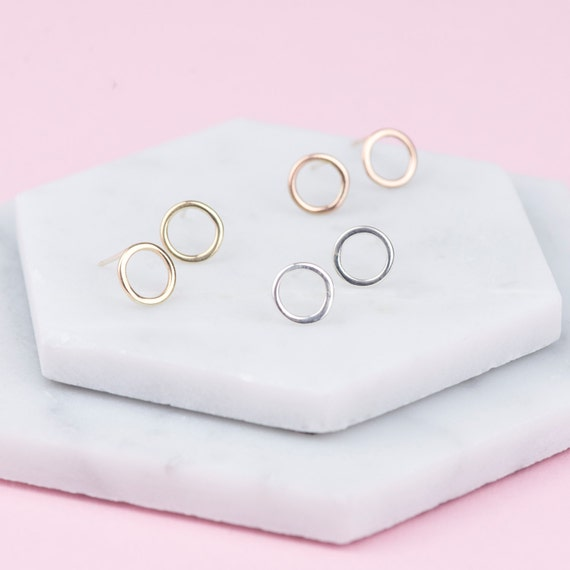 Solid Gold Circle Earrings, Hoop Earrings Studs, Rose Gold Stud Earrings, Gold Stud Earrings, Earrings Gold, Earrings Studs, Earrings