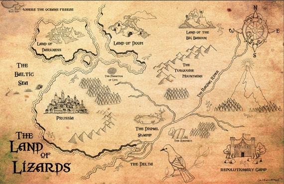 """Phish Land of Lizards Gamehendge Map 17""""x11"""""""