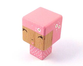 "Magnet cubic figurine ""Kokeshi doll pink"""
