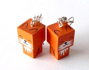 "Earrings Wooden Dolls ""Fox"" - Hand-made"